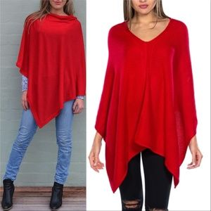 KERISMA STUNNING RED KNITTED PONCHO